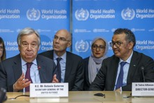 The Director General of WHO (right) in a press conference with the US Secretary General (left)
