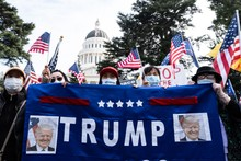 Trump supporters rally in Sacramento, California, USA Stock Image ...