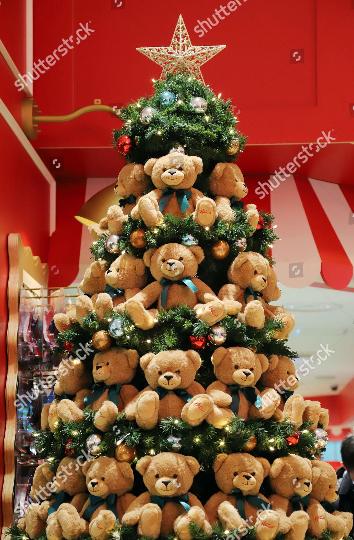 Japanese Christmas Tree.Christmas Tree Decorated Teddy Bears Displayed Newly