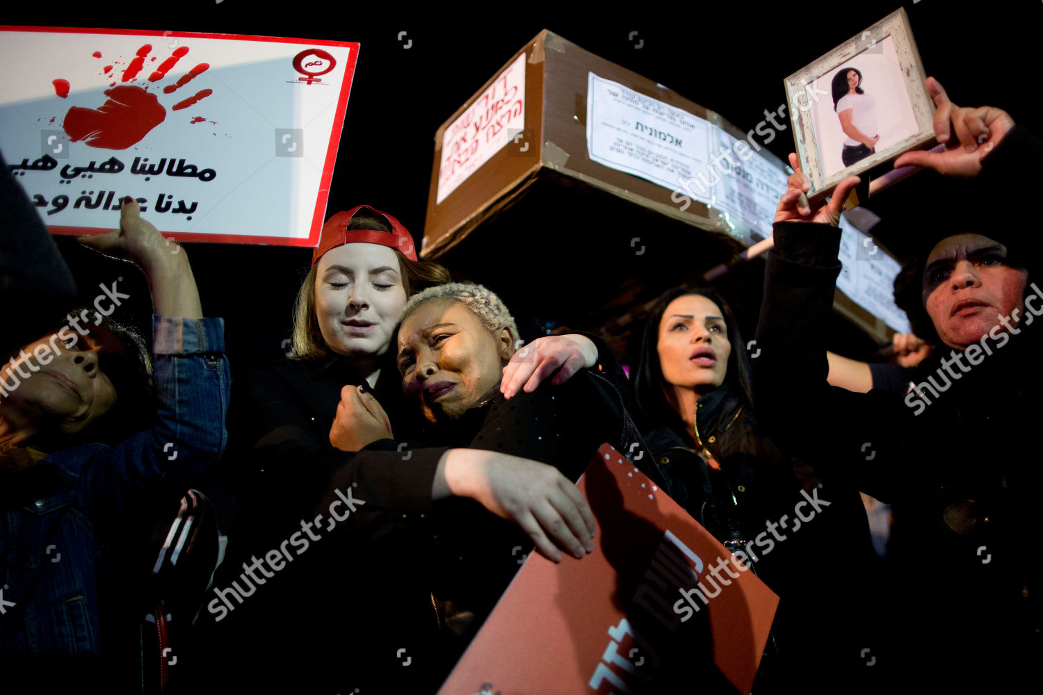 women attend protest against violence against women editorial stock