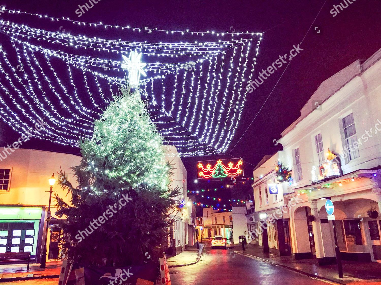 Half Of Christmas Lights Dont Work.Christmas Tree Town Faversham Only Top Half Editorial Stock