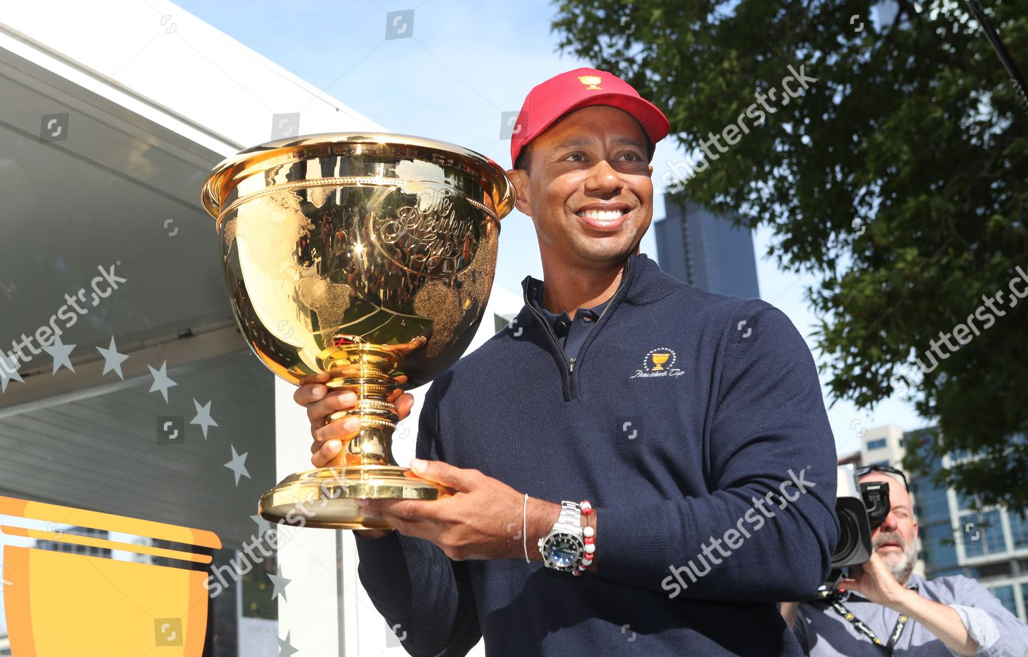 176390981 Golfer Tiger Woods poses photos trophy during Editorial Stock Photo ...