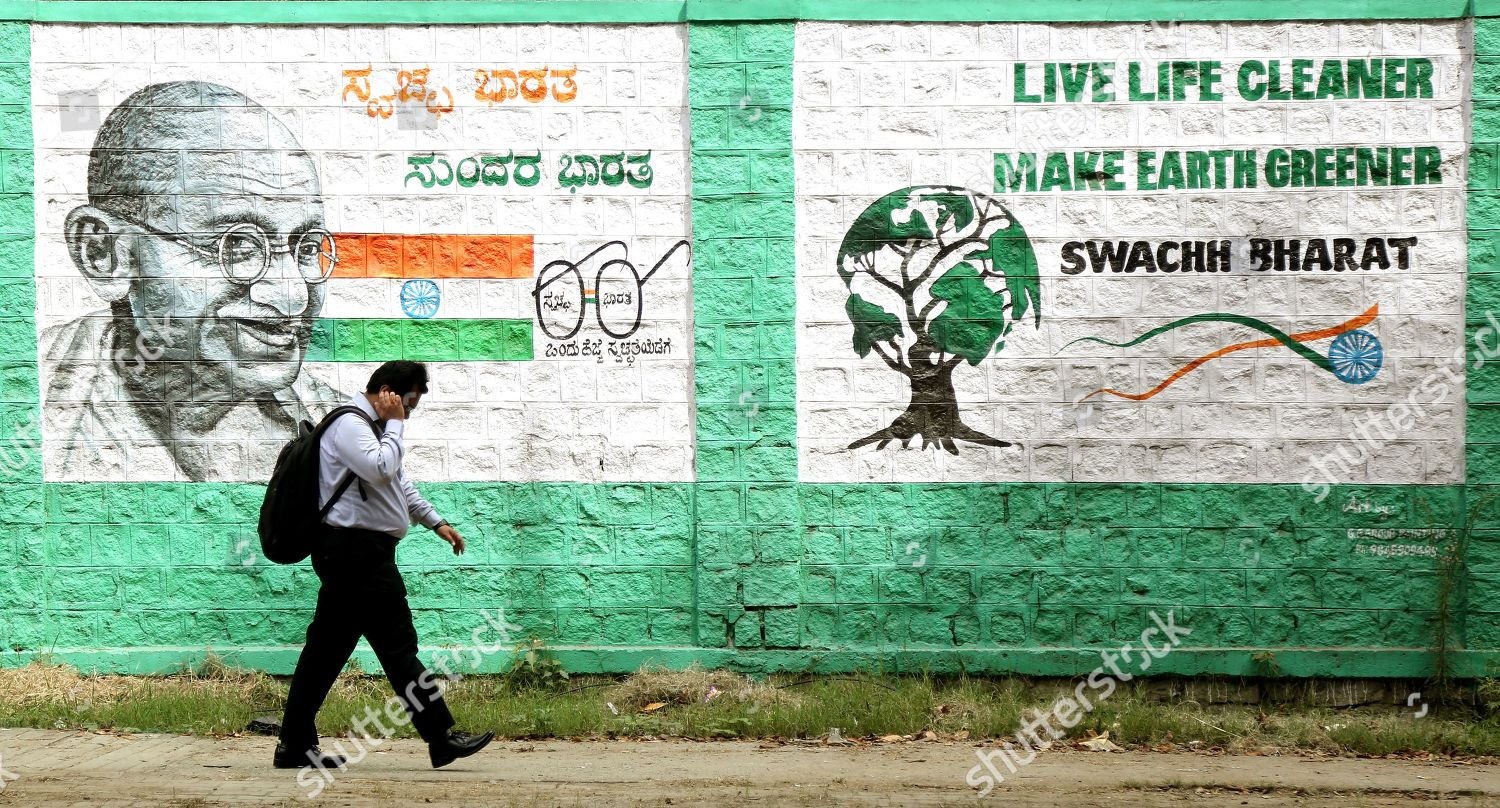 Indian Man Walks Front Wall Painting That Editorial Stock Photo