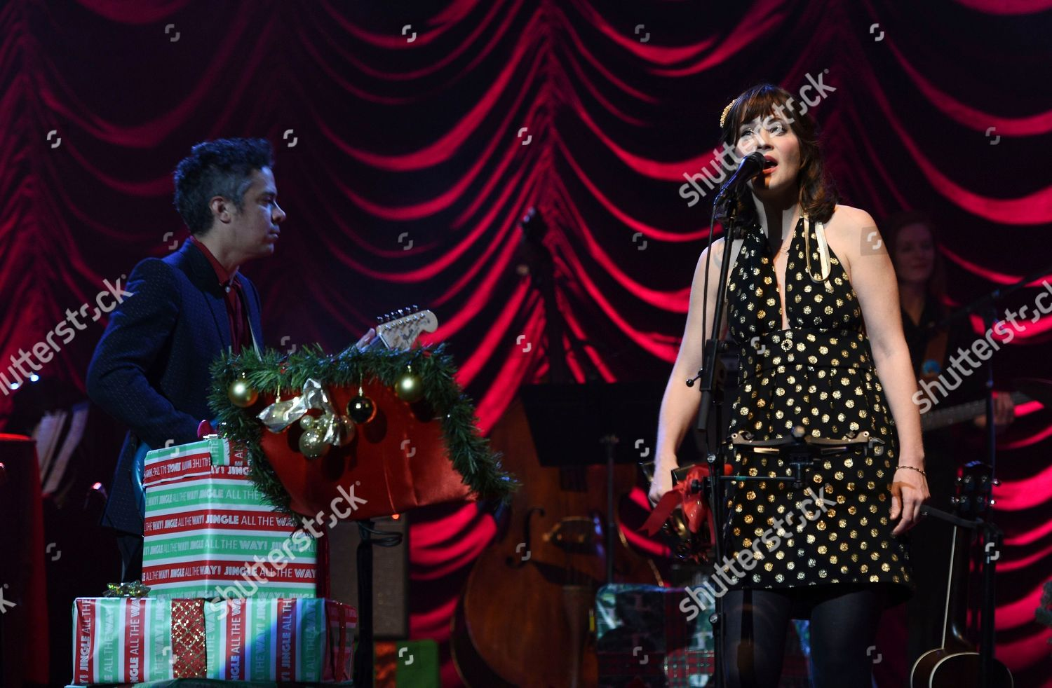 She And Him Christmas.M Ward Zooey Deschanel M Ward Left Editorial Stock Photo