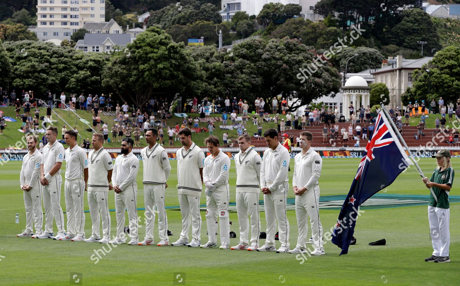New Zealand players line national anthem prior Editorial