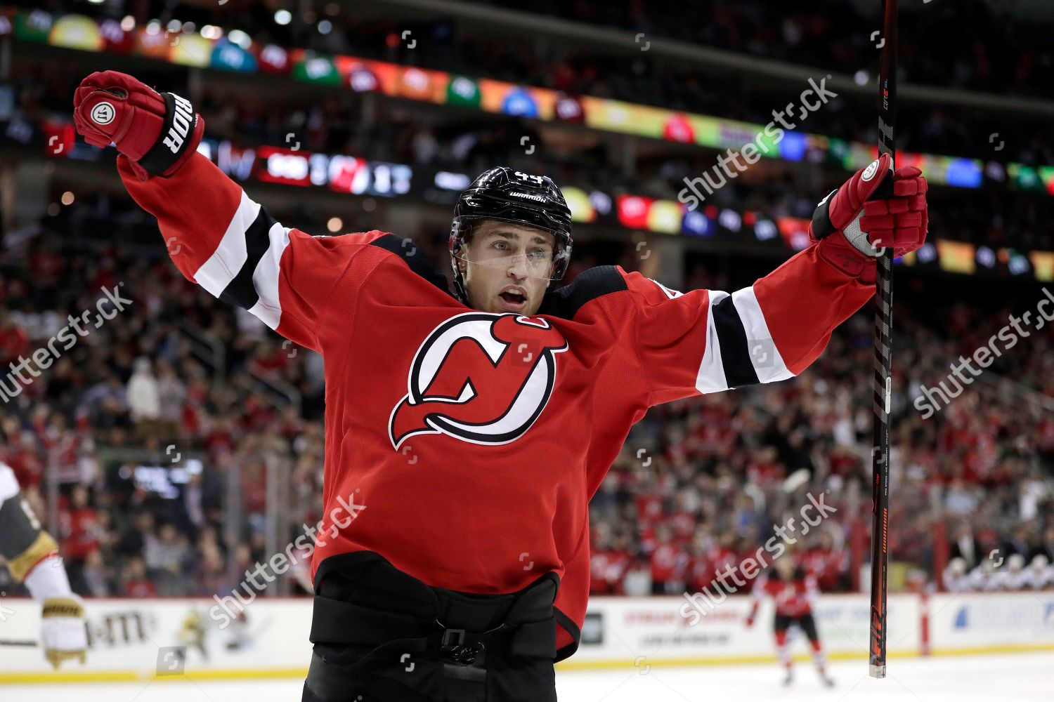 new arrival f724f 49afa New Jersey Devils left wing Miles Wood Editorial Stock Photo ...