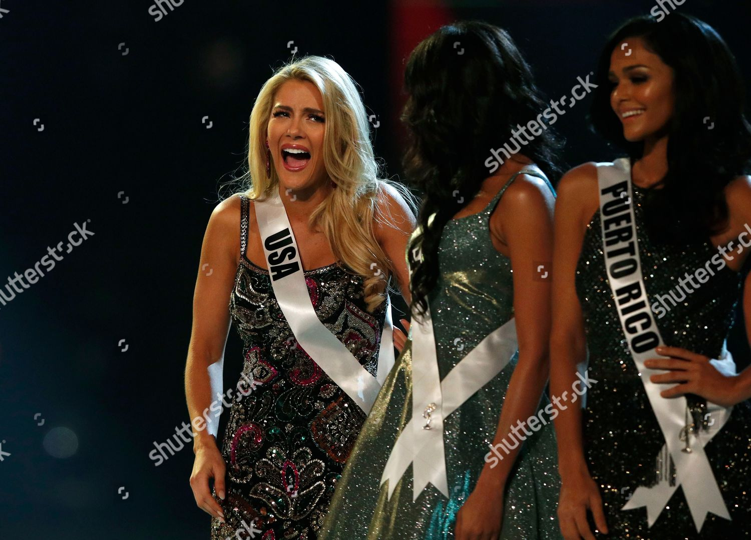 Miss USA Sarah Rose Summers L reacts Editorial Stock Photo
