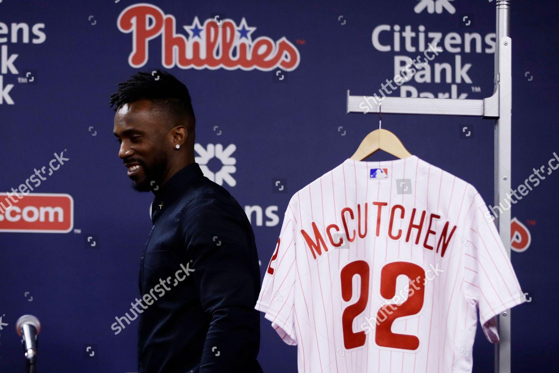 uk availability 281eb a23ac Philadelphia Phillies new outfielder Andrew McCutchen walks ...