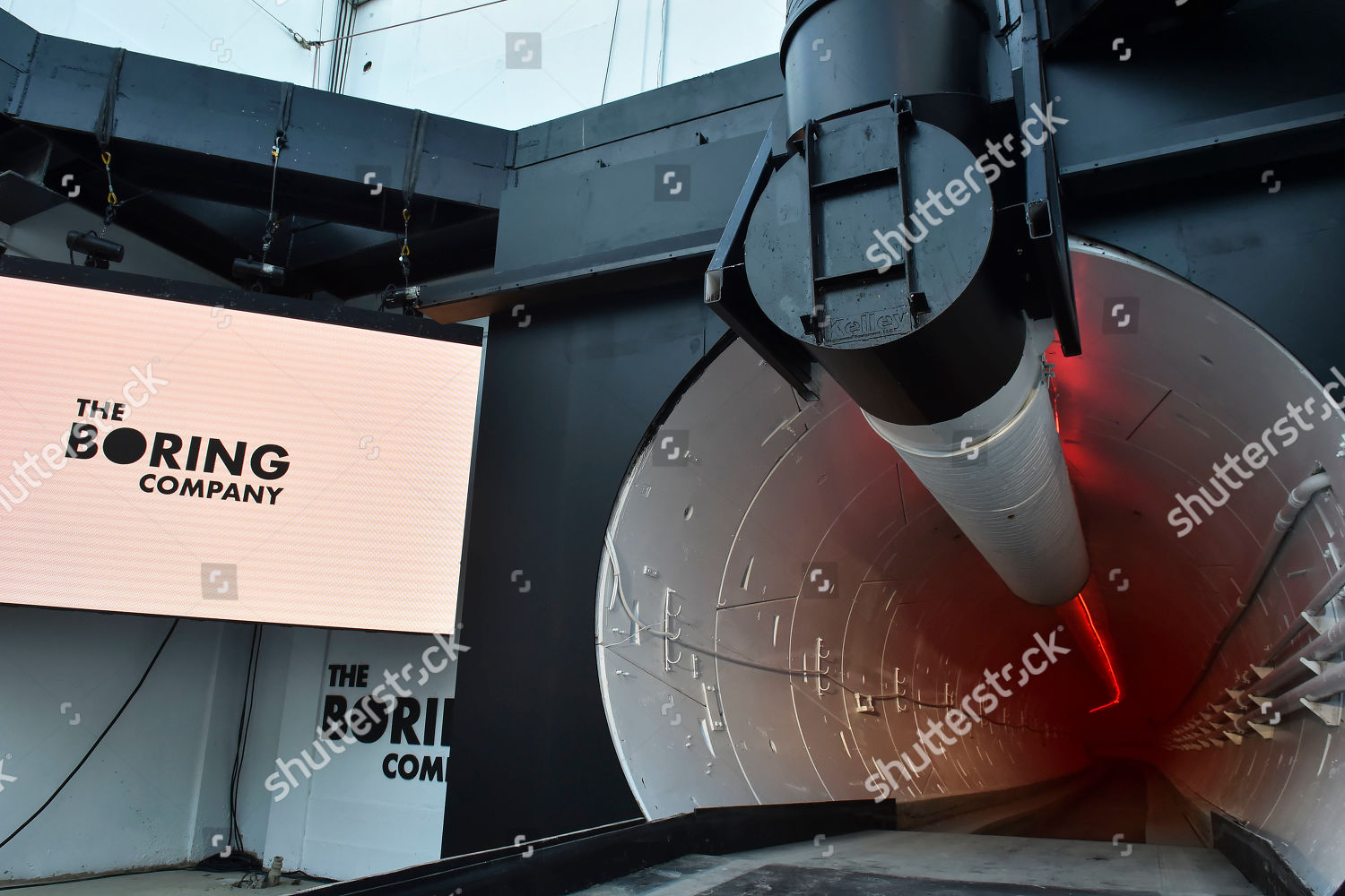 Boring Co signage displayed tunnel entrance before Editorial