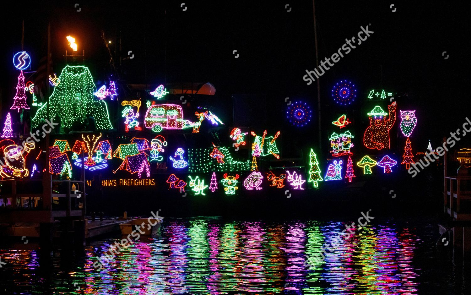 Holiday Decorated Boat Sits Newport Harbor During Editorial