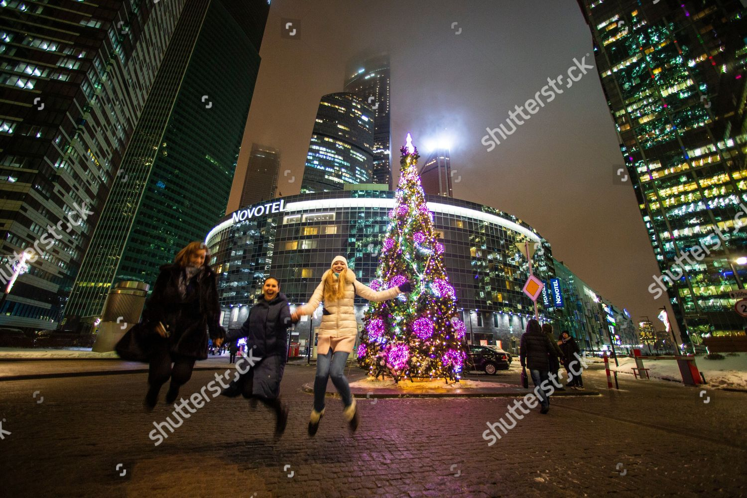 Women Jump They Pose Photo Front Decorated Editorial Stock Photo Stock Image Shutterstock
