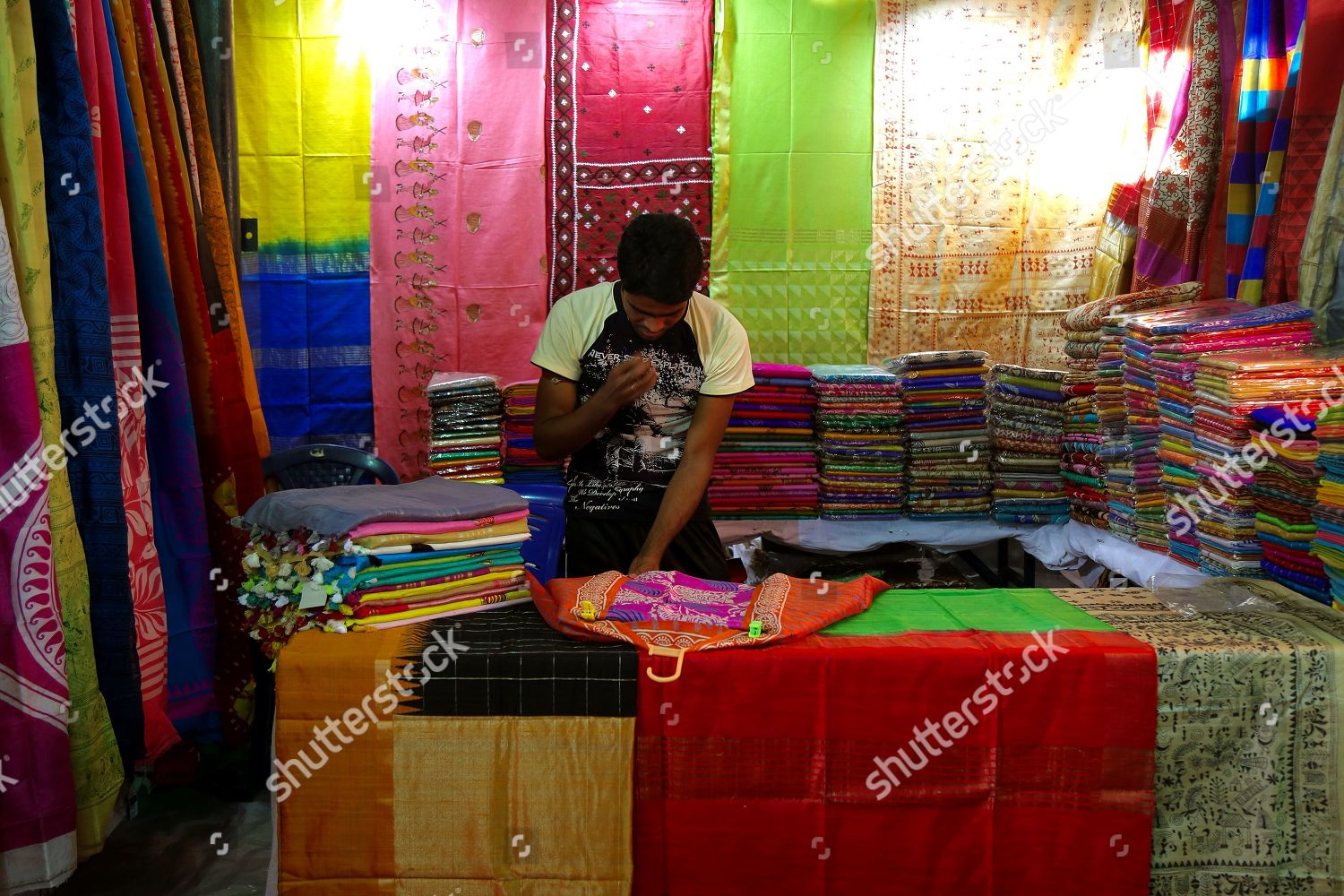Exhibition Stall Vendors : Indian vendors display khadi products stalls during editorial