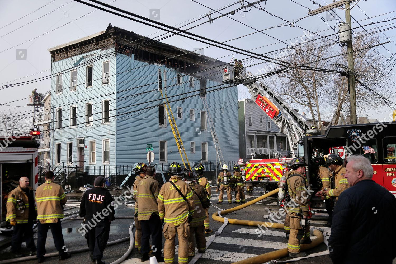 Firefighters work scene fire Jersey City NJ Editorial Stock Photo