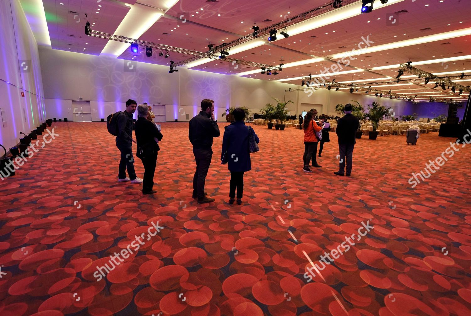 People look over new ballroom during Moscone Editorial Stock