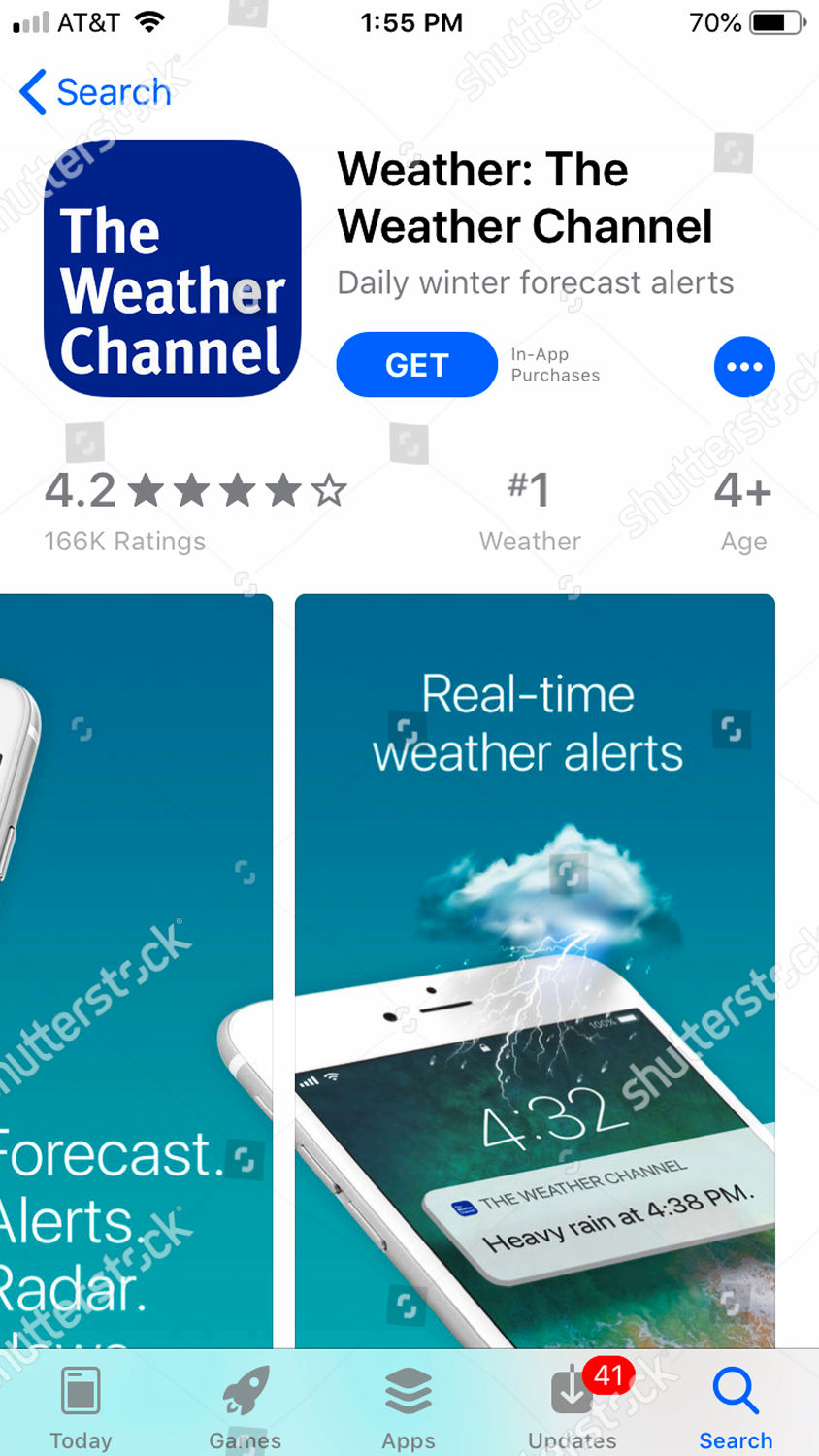 mobile phone Weather Channel app seen Los Editorial Stock