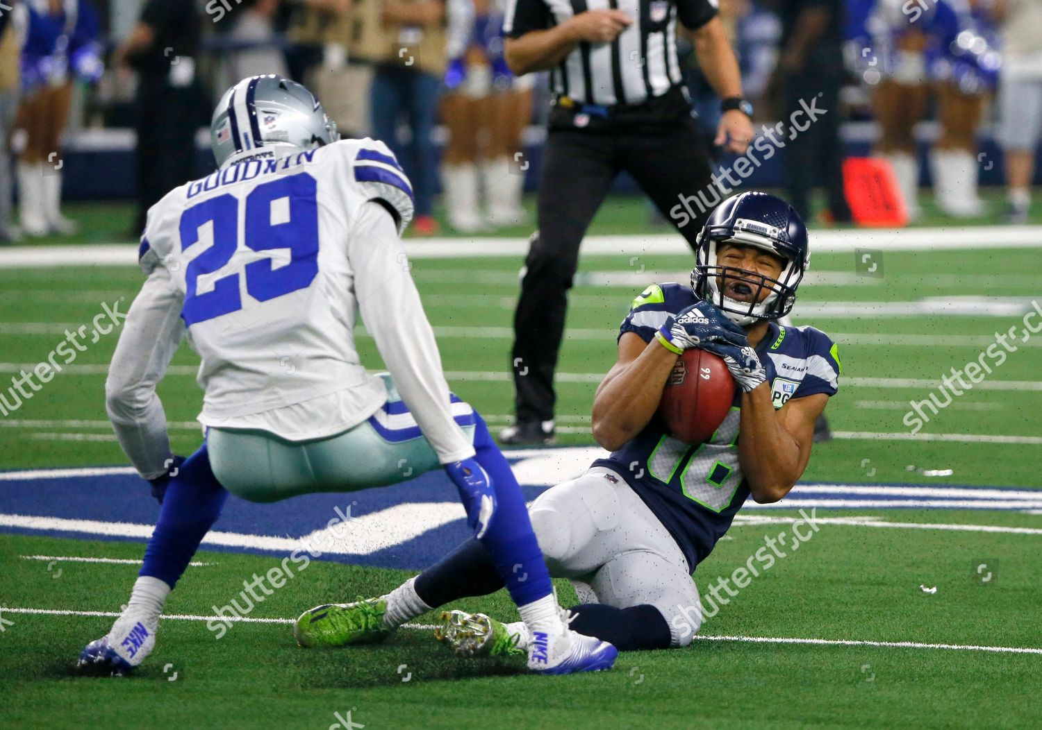 on sale 66bba 35d7a Dallas Cowboys CJ Goodwin 29 defends against Editorial Stock ...