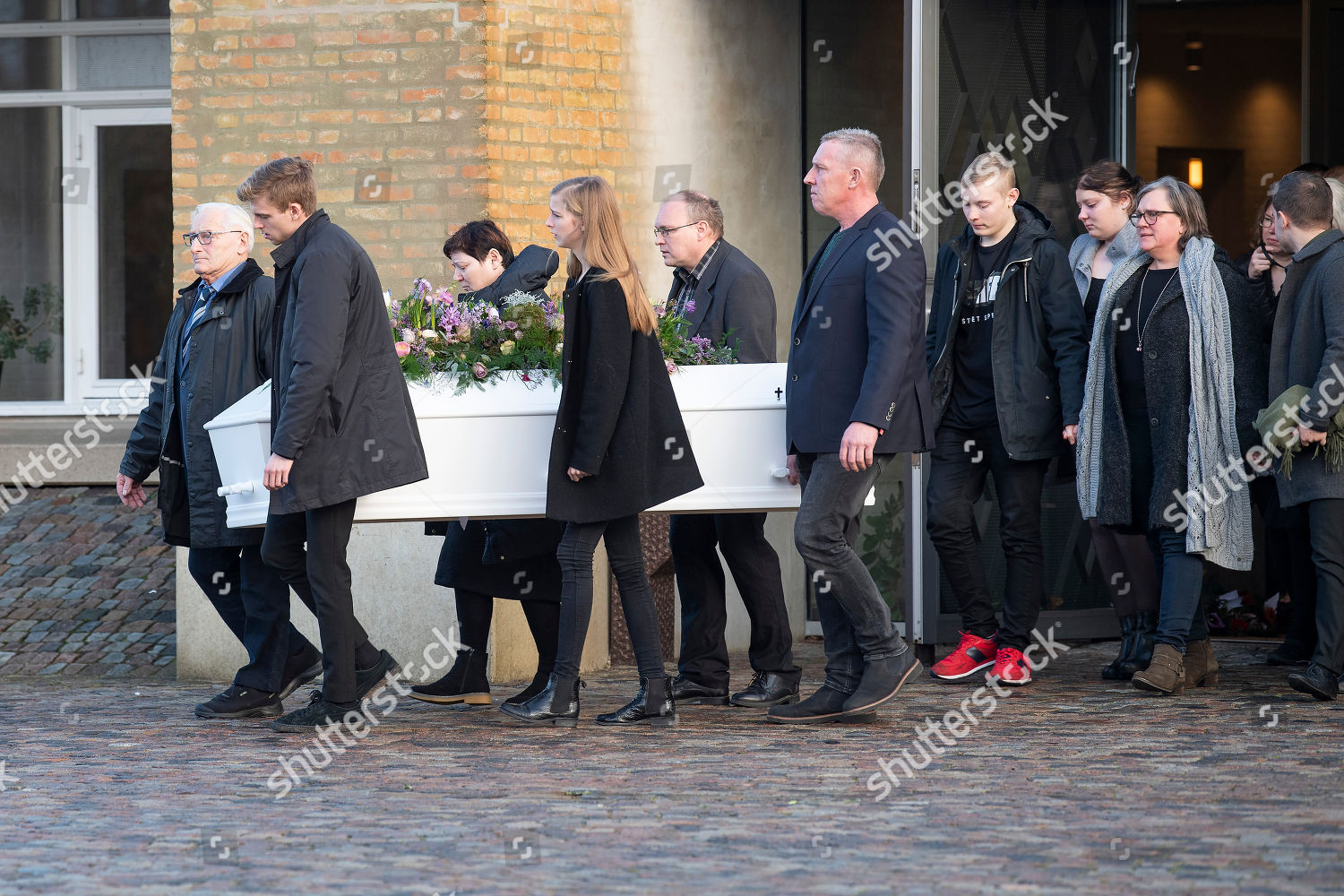 Family Friends Attend Funeral Danish Student Louisa Stock Photo