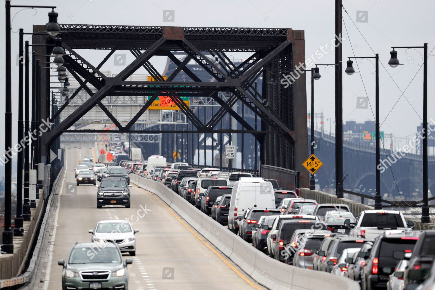 Traffic seen stand still on westbound side Editorial Stock