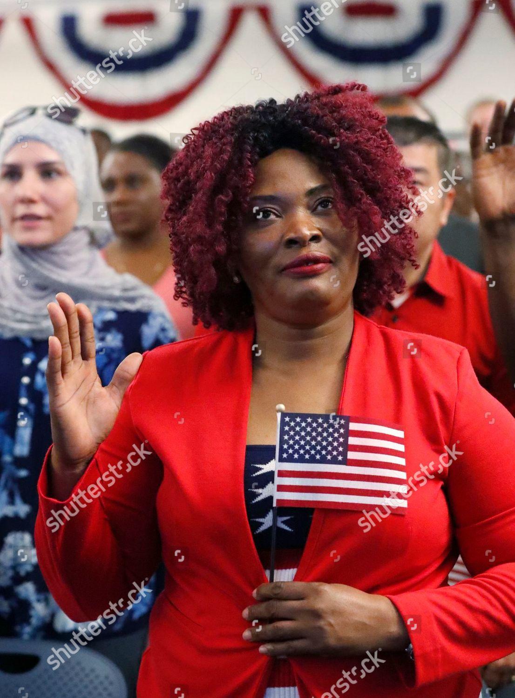 Yolene Clerjuste Haiti takes Oath Allegiance during Editorial Stock