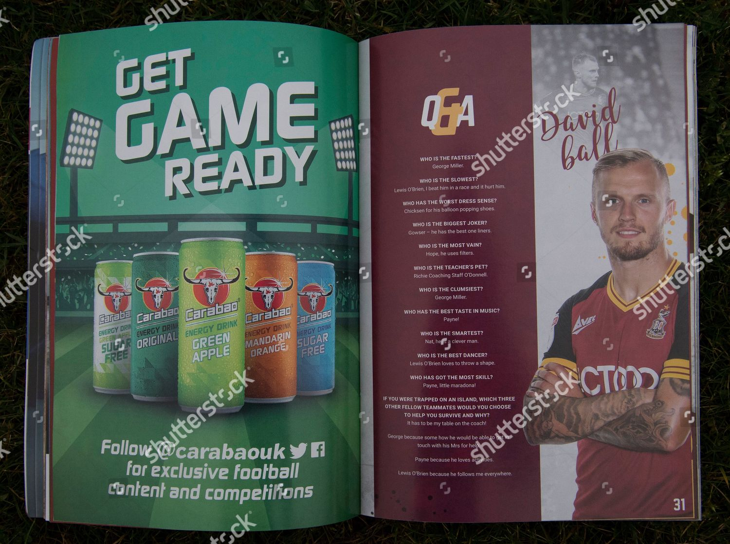 Carabao Get Game Ready advert matchday programme Editorial