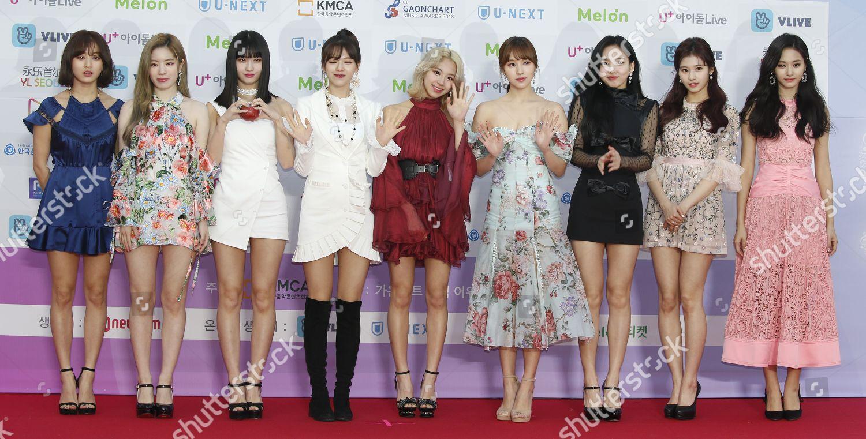 South Korean girl group TWICE members pose Editorial Stock