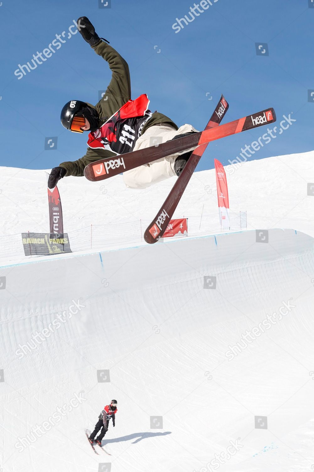 Freestyle Skiing At The 2020 Olympic Winter Games.Skiers Action On Site Snowpark Freestyle Lausanne Editorial