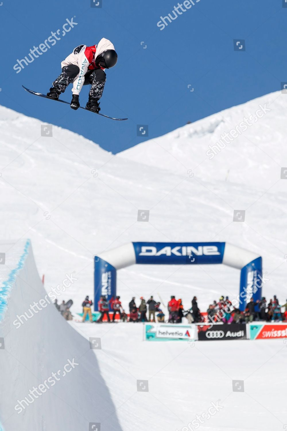 Snowboarding At The 2020 Olympic Winter Games.Snowboarder Action On Site Snowpark Freestyle Lausanne