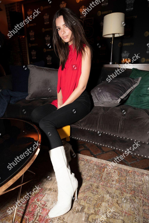 Model actress Emily Ratajkowski attends DIRECTVs NFL Editorial Stock