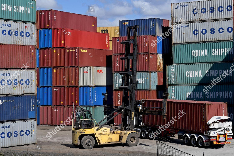 Shore ship cranes seen port botany container stock photo