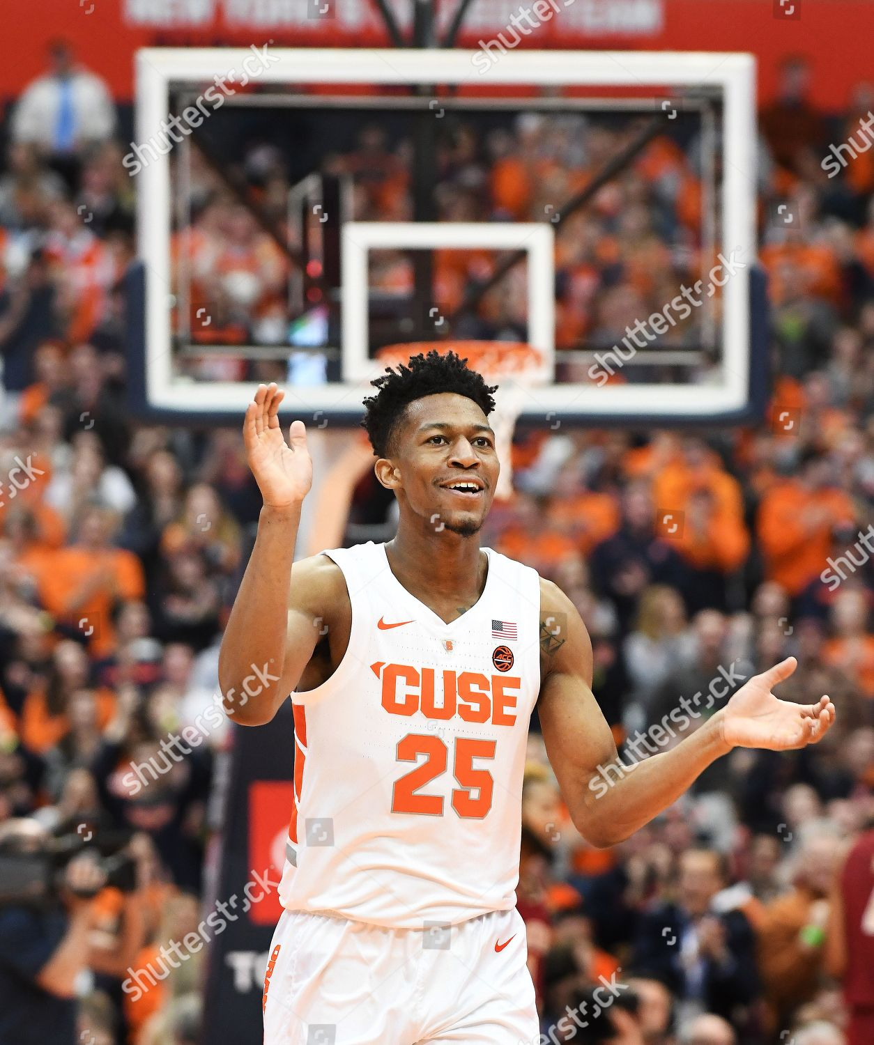 Syracuse Junior Guard Tyus Battle 25 Reacts Editorial Stock Photo