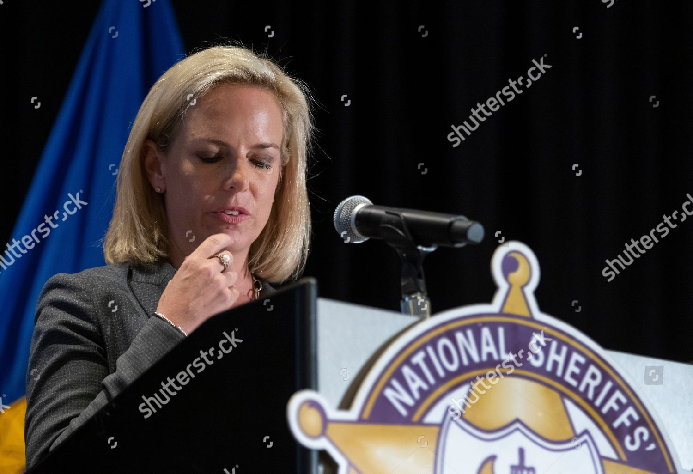 US Secretary Homeland Security Kirstjen Nielsen speaks Editorial