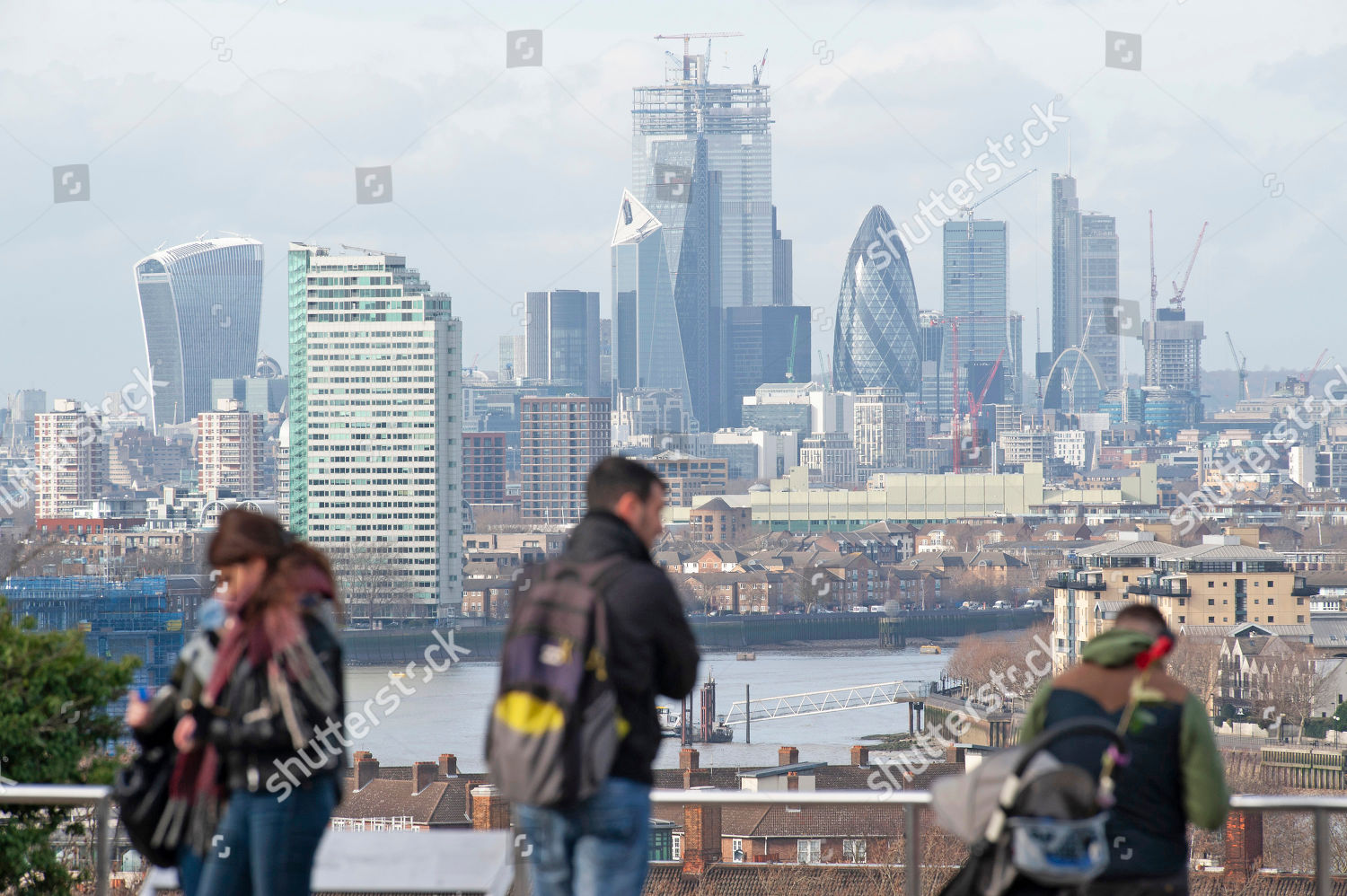 view across City London Bright milder weather Editorial Stock Photo
