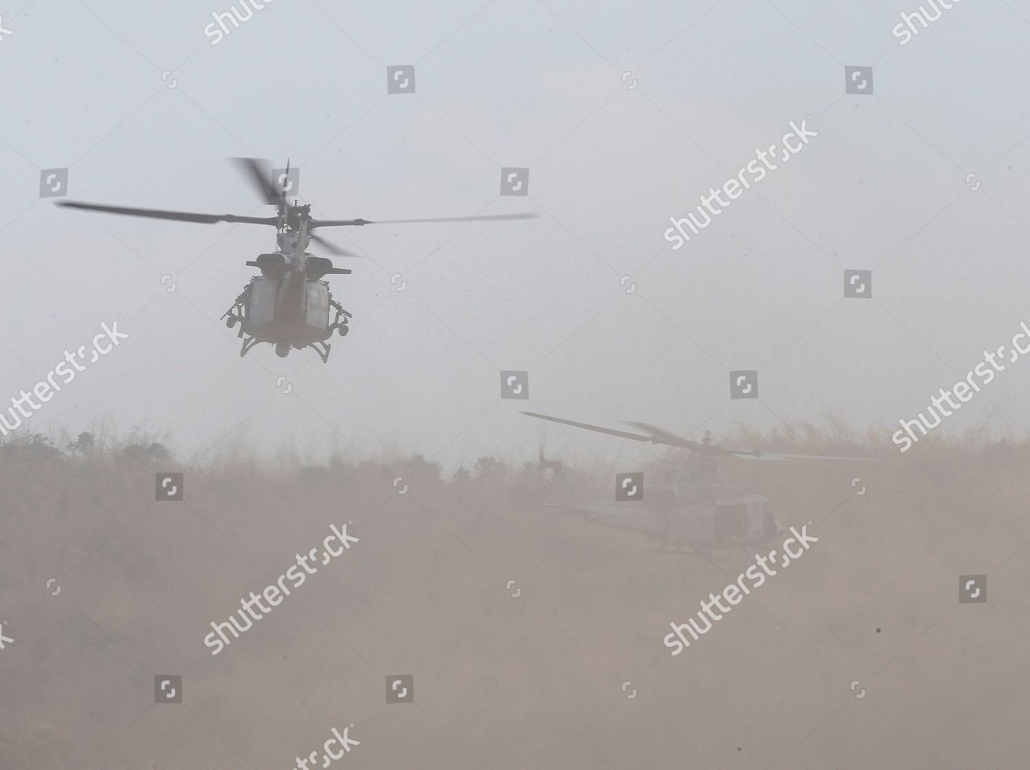 Royal Thai Navy helicopters fly during amphibious Editorial
