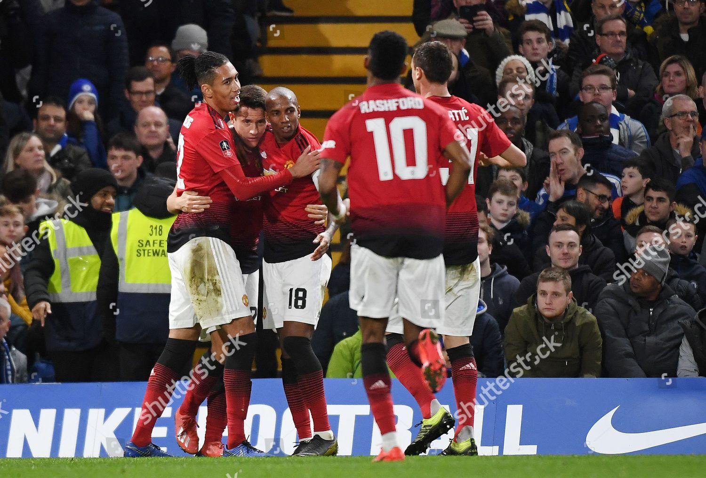 Player Manchester United Celebrate Goal Ander Herrera