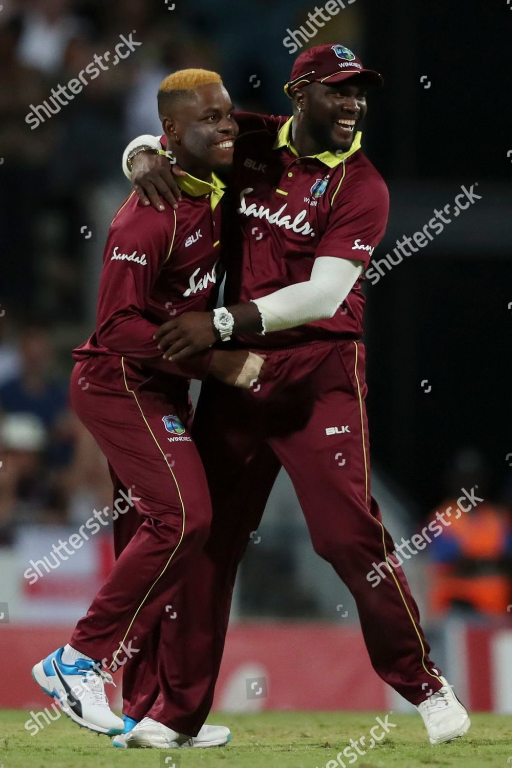 West Indies Shimron Hetmyer left celebrates teammate