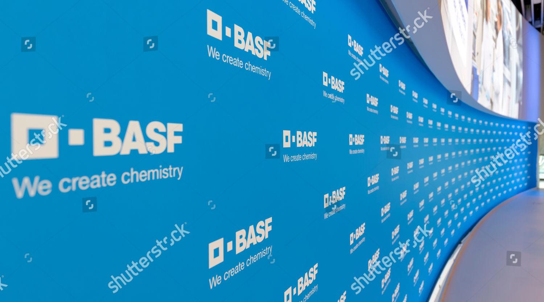 Logos BASF SE seen on wall before Editorial Stock Photo