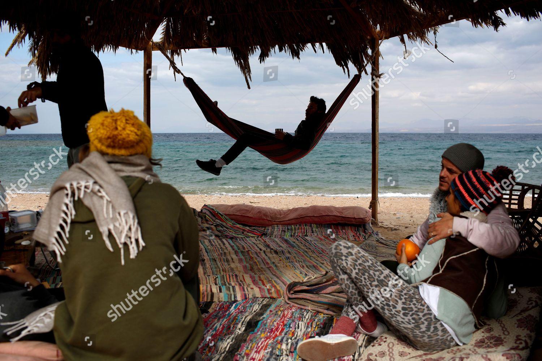 Israeli tourists beach Red Sea Gulf Aqaba Editorial Stock Photo