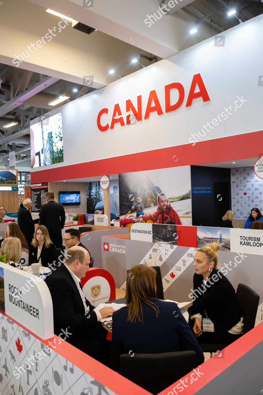 Exhibitors guests on stand Canada International Travel Editorial