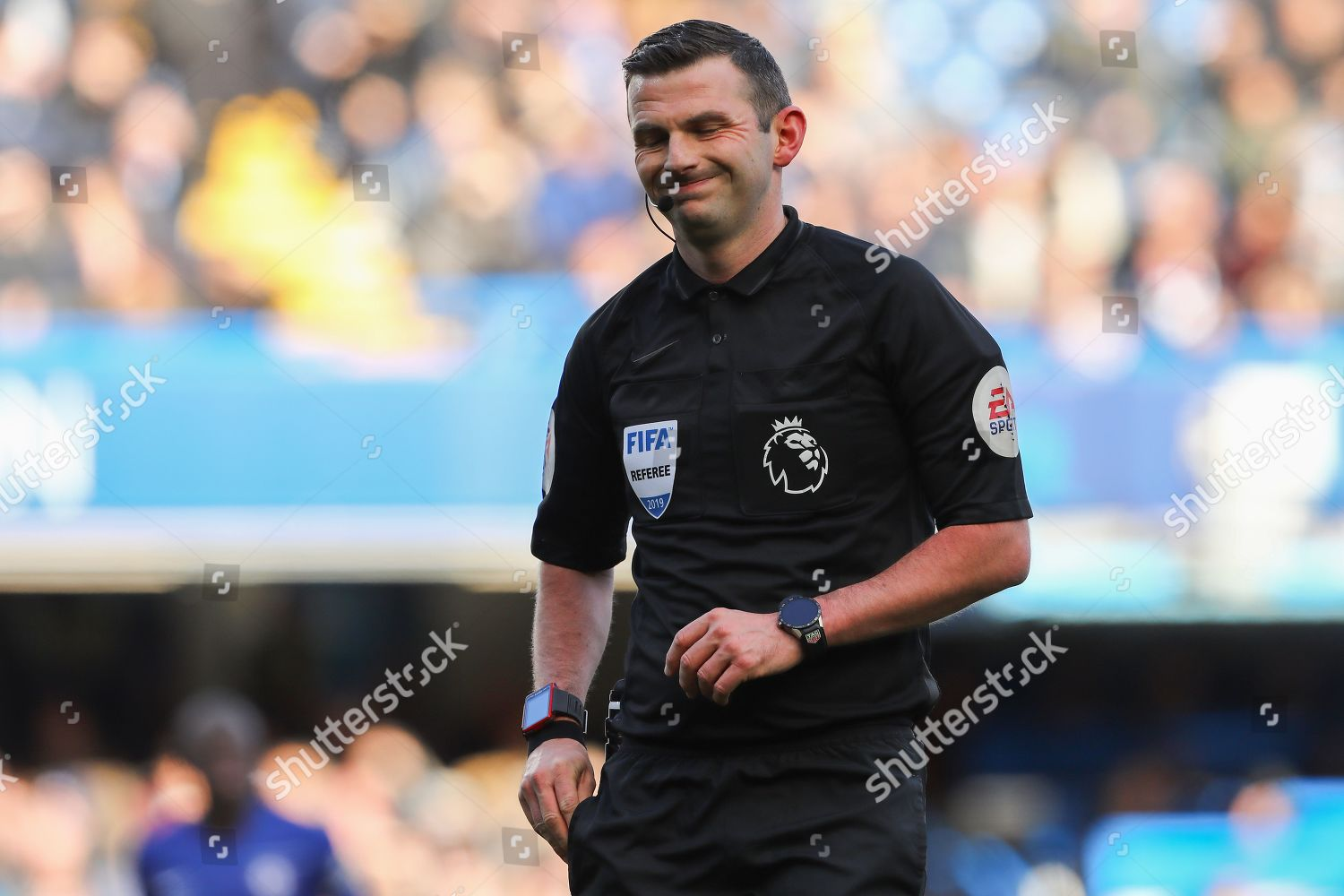 Referee Michael Oliver Reaches His Cards Chelsea Editorial Stock