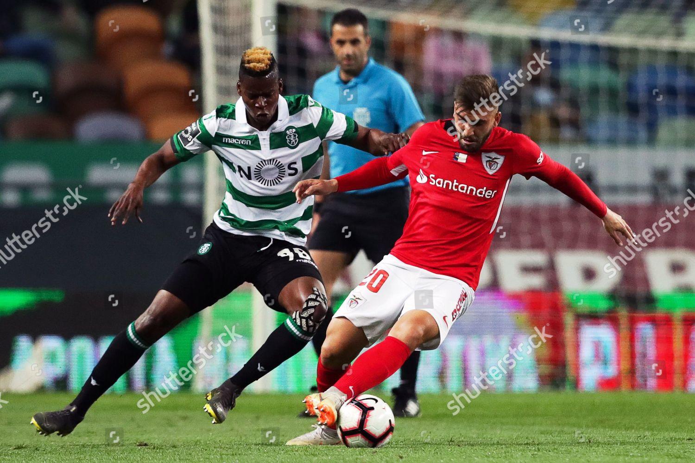 Sportings Idrissa Doumbia L action against Santa Editorial Stock Photo -  Stock Image