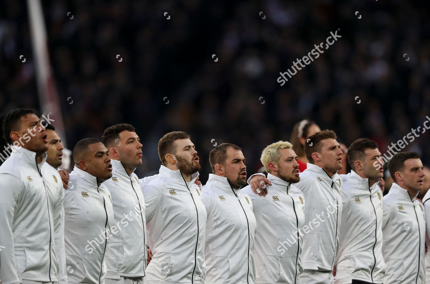 England team sing national anthem Editorial Stock Photo