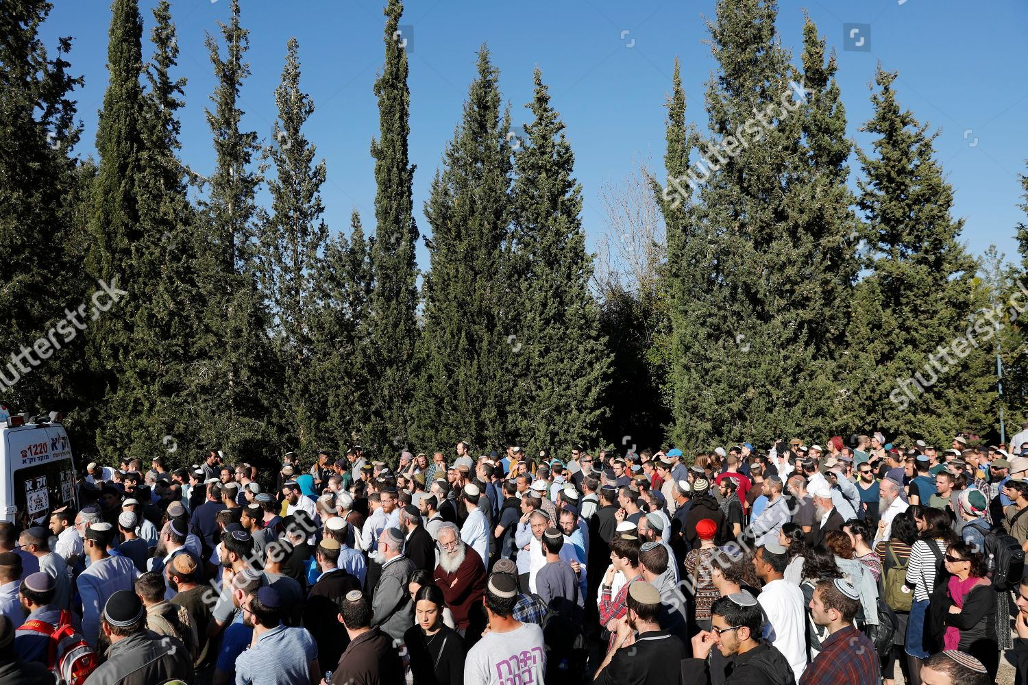 People attend funeral Rabbi Achad Ettinger who Editorial Stock Photo