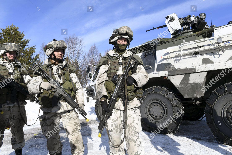 Finnish servicemen Pori Brigade during military exercise