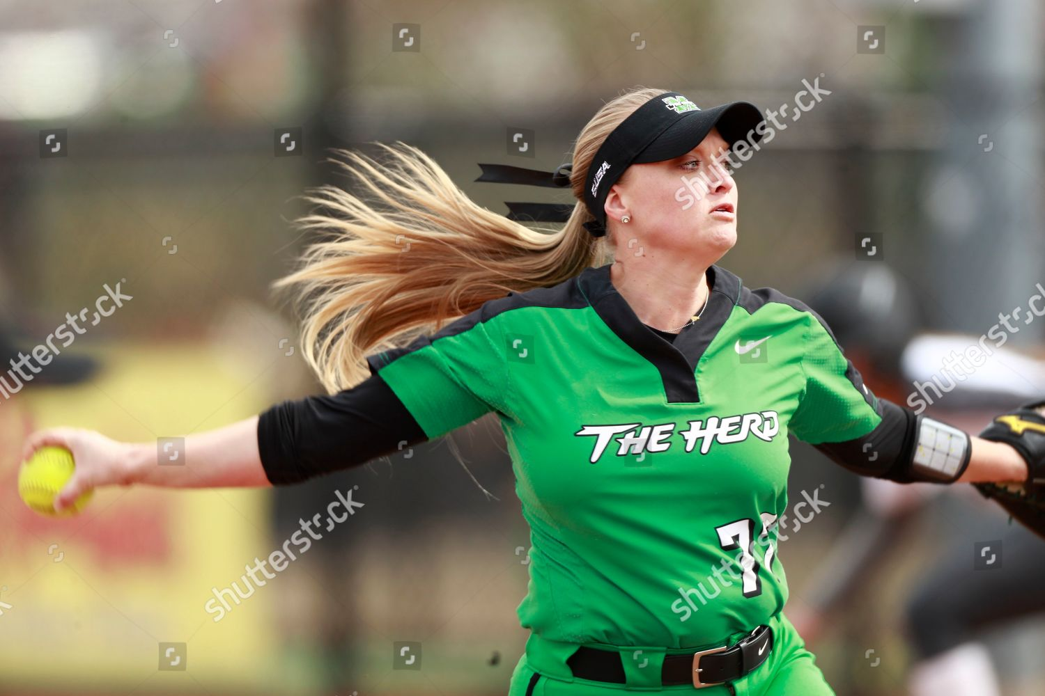 Marshall pitcher Kailee Williamson throws against Charlotte