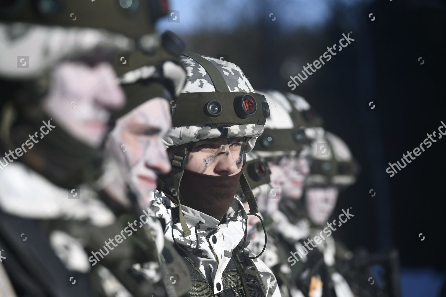 Finnish serviceman during military exercise Editorial Stock