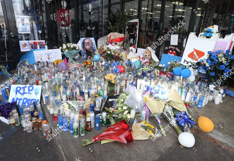 Nipsey Hussle memorial outside his Marathon Clothing