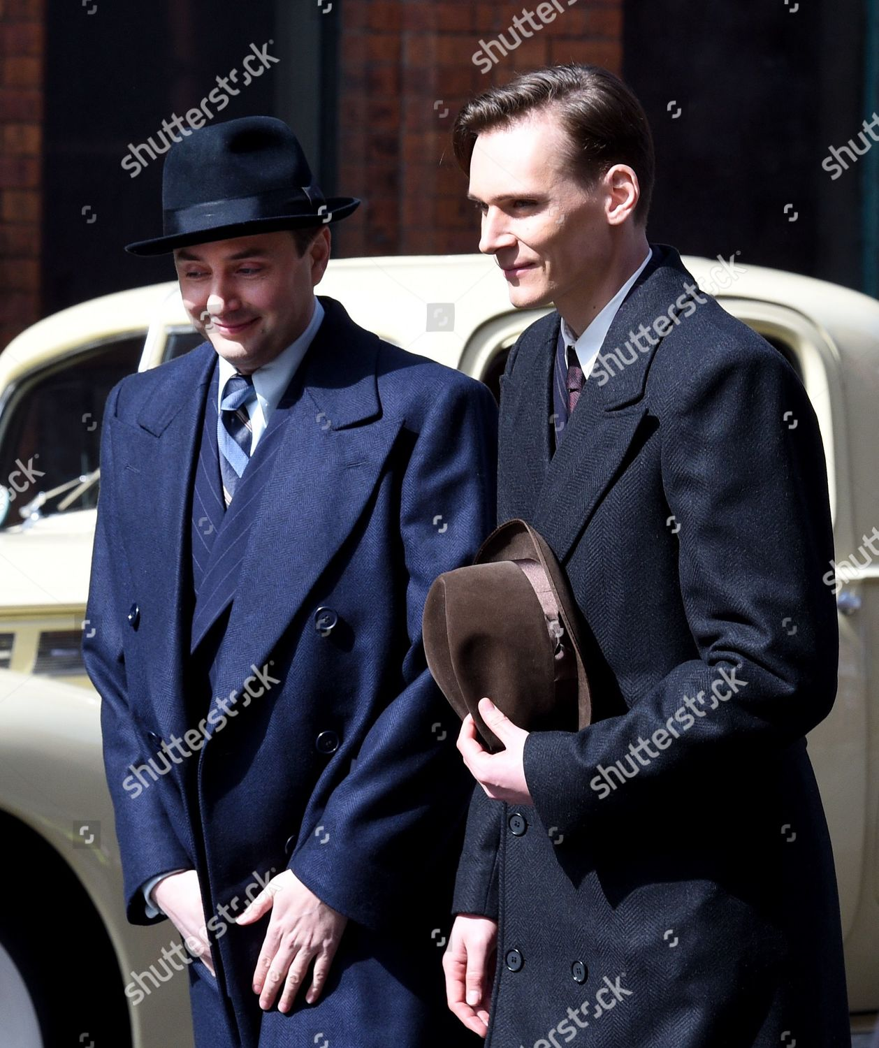 Actors on streets Manchester turned into 1940s Editorial Stock Photo