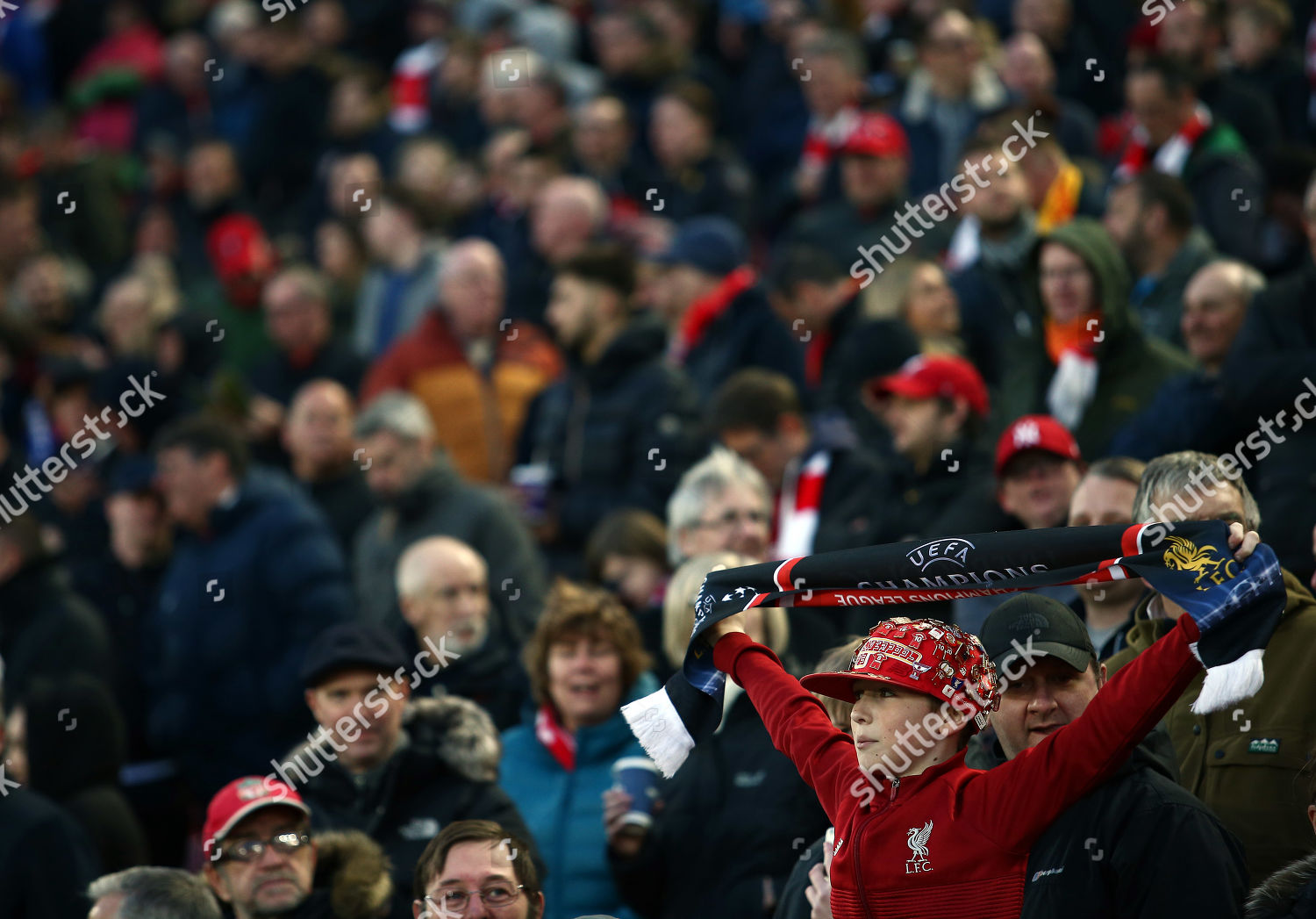 Liverpool fan holds his scarf Editorial Stock Photo - Stock