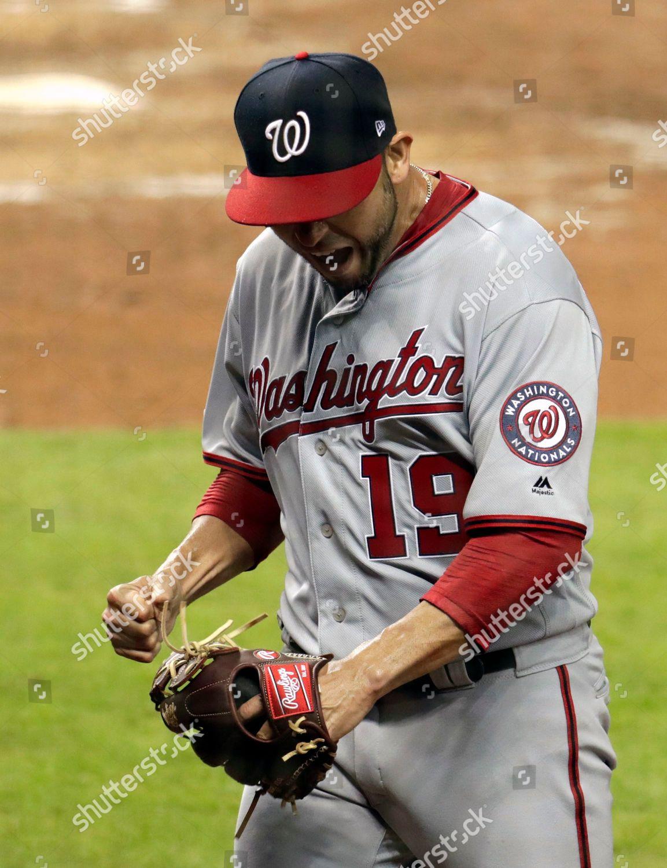 Washington Nationals starting pitcher Anibal Sanchez reacts
