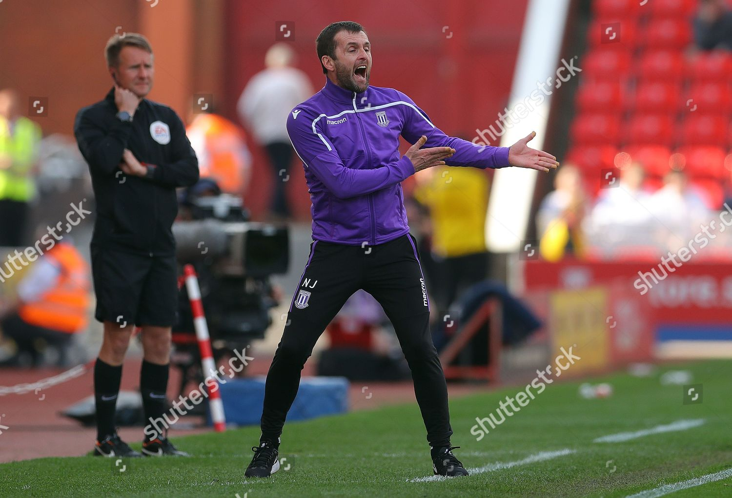 Stoke City manager Nathan Jones gestures on Editorial Stock